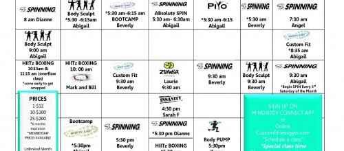 JANUARY 2016 GROUP FITNESS SCHEDULE