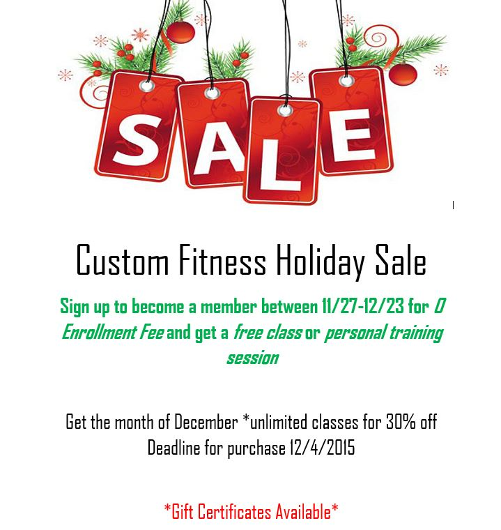 custom fitness holiday sale and gift certificates available