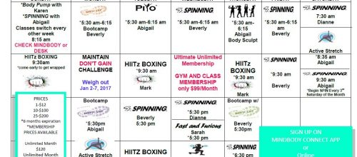 Fall/Winter Group Fitness Schedule